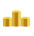 bitcoin golden coins pile stack vector image