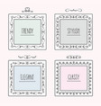 black line trendy and stylish doodle frames set vector image vector image