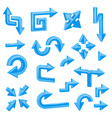 blue 3d arrows set of different shiny web signs vector image vector image