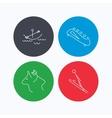 Boating horseback riding and bobsled icons vector image vector image