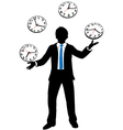Busy business person juggles time clocks vector image vector image