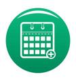 calendar deadline icon green vector image vector image