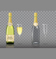 champagne bottle with wine glass mockup set vector image vector image