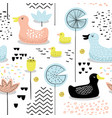 childish seamless pattern with cute ducks vector image