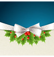 christmas background with ribbon and holly vector image