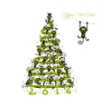 Christmas tree with funny monkeys for your design vector image vector image
