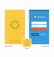 company sun splash screen and login page design vector image vector image