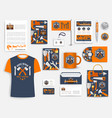 construction company corporate identity set vector image