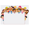 Crowd children with blank sign vector image vector image