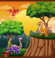 dinosaurs cartoon in jungle vector image vector image