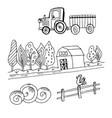 doodle farm tractor vector image vector image