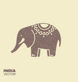 elephant stylized flat icon with scuffing effect vector image