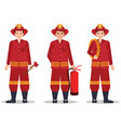 fireman with helmet holding equipment vector image