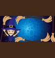 halloween banner with a witch and broom vector image