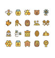 honey sign color thin line icon set vector image vector image