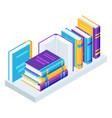 isometric books on bookshelves vector image vector image