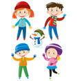 kids in winter clothes and snowman vector image