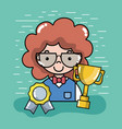 man student with medal and cup vector image vector image