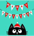 merry christmas black cat face head silhouette vector image vector image