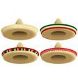mexican straw sombrero hat set cap vector image