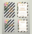 modern wedding invitation card set on black and vector image vector image