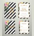 modern wedding invitation card set on black vector image vector image