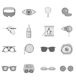 Ophthalmology icons set gray monochrome style vector image vector image