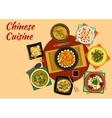 Oriental cuisine dinner with chinese food icon vector image vector image