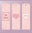 pink tag for big sales with a heart label the vector image vector image