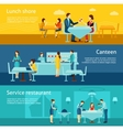 Public catering flat horizontal banners set vector image vector image