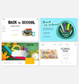 realistic school time websites set vector image vector image