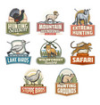 safari hunting open season animals icons vector image