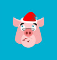 santa pig surprised emoj christmas amazementi vector image vector image
