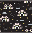 seamless pattern with rainbows clouds and stars vector image vector image