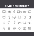 set 24 device and technology web icons in line vector image vector image