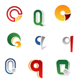 set of alphabet symbols and elements of letter q vector image vector image