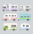 set of camping trailers vector image vector image