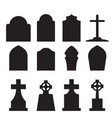 set of headstone and tombstone silhouette vector image vector image