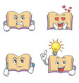 set of open book character with angry love waiting vector image vector image