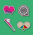set sport elements to play patches decoration vector image vector image