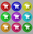 shopping basket icon sign symbol on nine round vector image