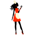 Silhouette cooking woman with spatula vector image vector image