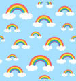 sky pattern with rainbows and clouds vector image vector image