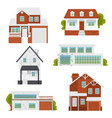 suburban modern and classic houses set flat vector image vector image
