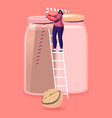tiny woman vegan character stand on ladder vector image vector image