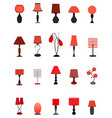 twenty elegant stylish graceful lamps collection vector image