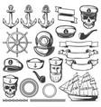vintage sailor naval icon set vector image