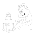Worker with hand cart contour vector image