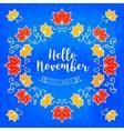 Hello November modern card Autumn background vector image