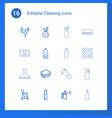 16 cleaning icons vector image vector image